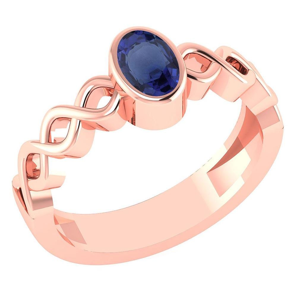 Certified 0.50Ctw Genuine Blue Sapphire 14K Rose Gold R
