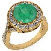 Certified 413 Ctw Emerald And Diamond VSSI1 Engagemen