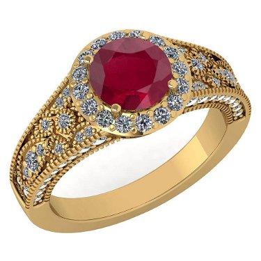 Certified 1.89 Ctw Ruby And Diamond Wedding/Engagement