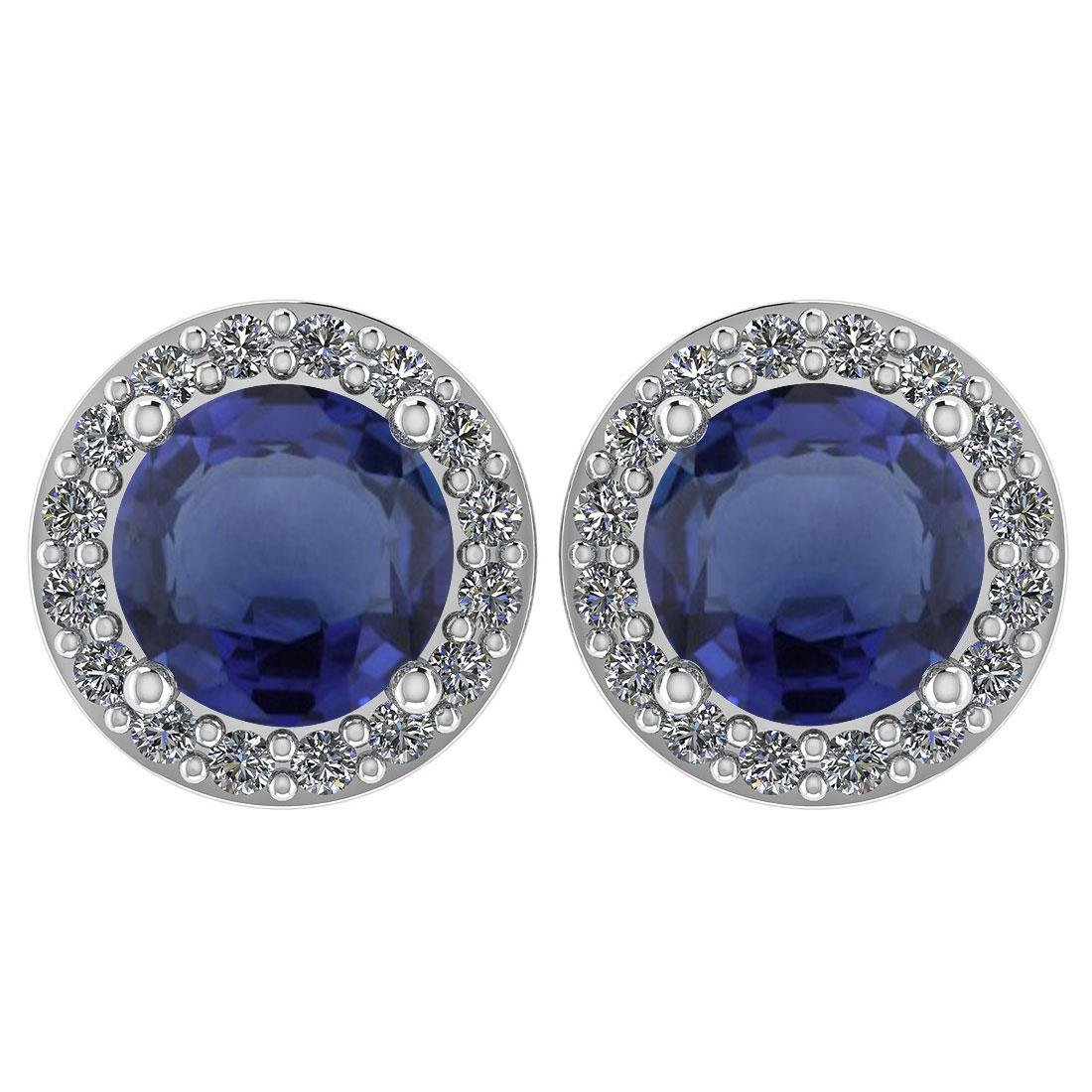 Certified 1.6 Ctw Blue Sapphire And Diamond 14k White G