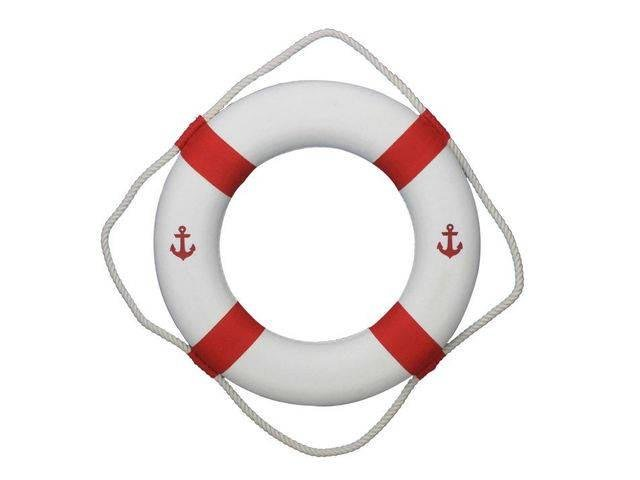 Classic White Decorative Anchor Lifering with Red Bands