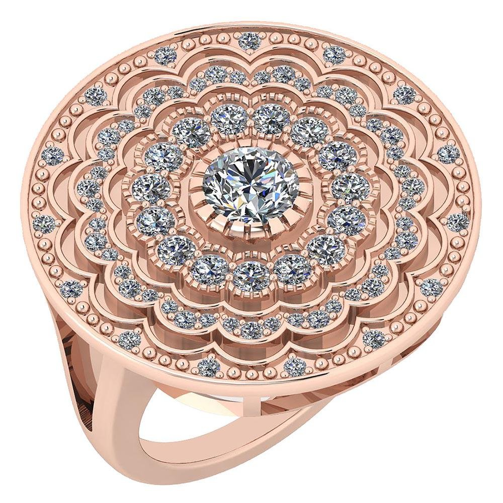 Certified 1.34 Ctw Diamond VS/SI1 14K Rose Gold Ring