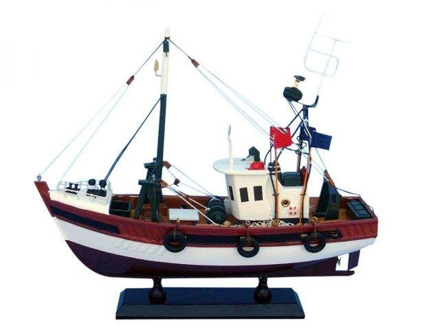 Wooden Stars and Stripes Model Fishing Boat 14in.