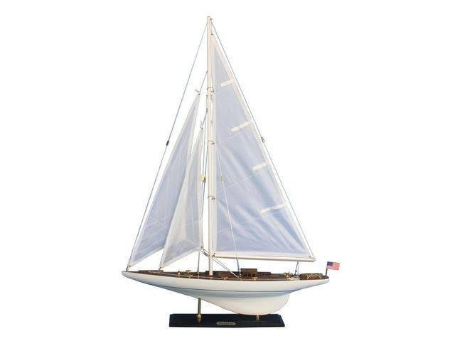 Wooden Intrepid Model Sailbaot Decoration 35in.