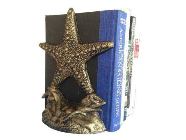 Set of 2- Antique Gold Cast Iron Starfish Book Ends 11i