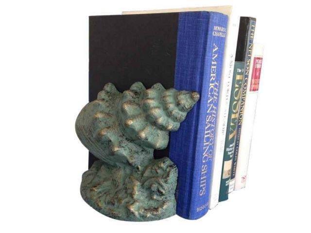 Set of 2- Antique Seaworn Bronze Cast Iron Conch Shell