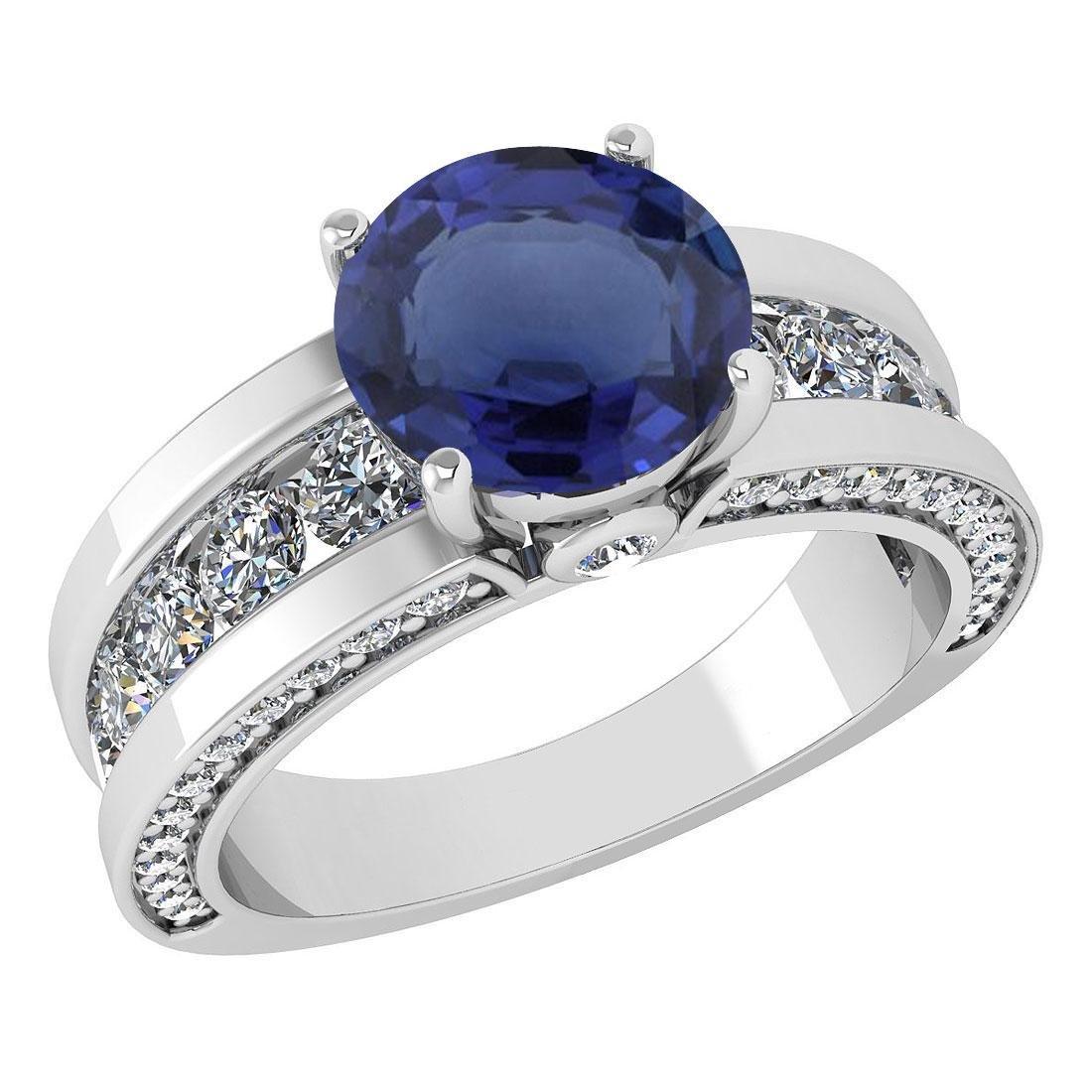 Certified 2.25 Ctw Blue Sapphire And Diamond Wedding/En