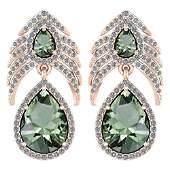 Certified 7.38 Ctw Green Amethyst And Diamond VS/SI1 Pe