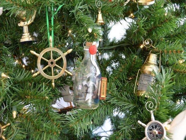 Mayflower Ship in a Glass Bottle Christmas Tree Ornamen
