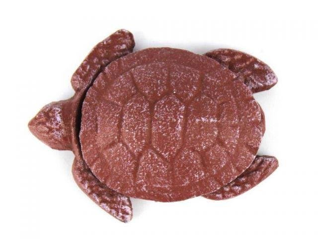 Red Whitewashed Cast Iron Decorative Turtle Paperweight