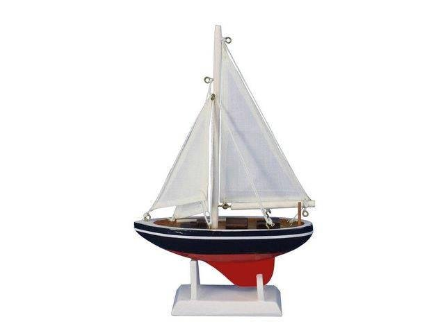 Wooden Endeavour Model Sailboat Decoration 9in.