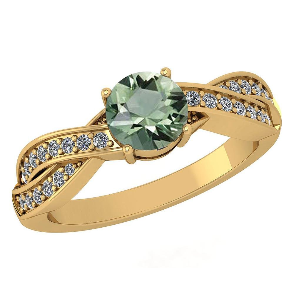 Certified 1.05 Ctw Green Amethyst And Diamond VS/SI1 14