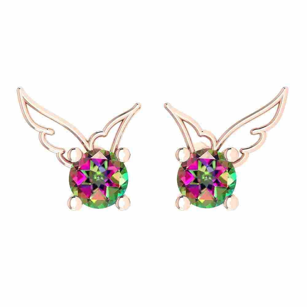 Certified 0.50 Ctw Mystic Topaz Stud Earrings 14K Gold
