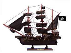 Wooden Black Pearl Black Sails Pirate Ship Model 15in