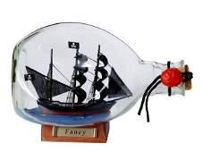 Henry Averys Fancy Pirate Ship in a Glass Bottle 7in