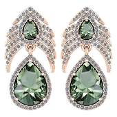 Certified 738 Ctw Green Amethyst And Diamond VSSI1 Pe