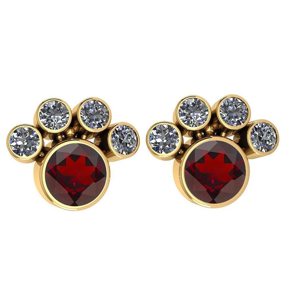 Certified 15.50 Ctw Garnet And Diamond SI2/I1 Earrings