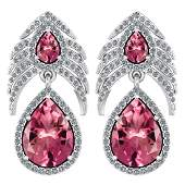 Certified 7.38 Ctw Pink Tourmaline And Diamond Pear Sha
