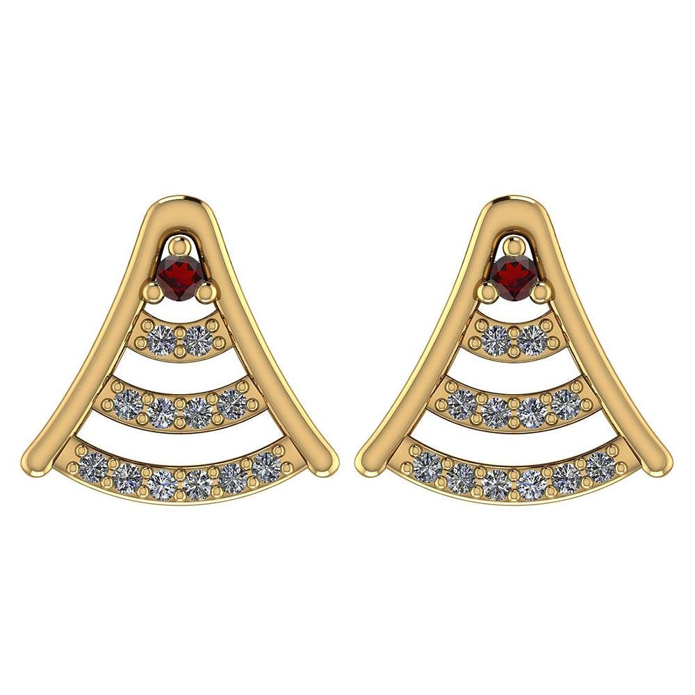 Certified 0.15 Ctw Garnet And Diamond 14k Yellow Gold H