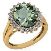 Certified 565 Ctw Green Amethyst And Diamond VSSI1 Ha