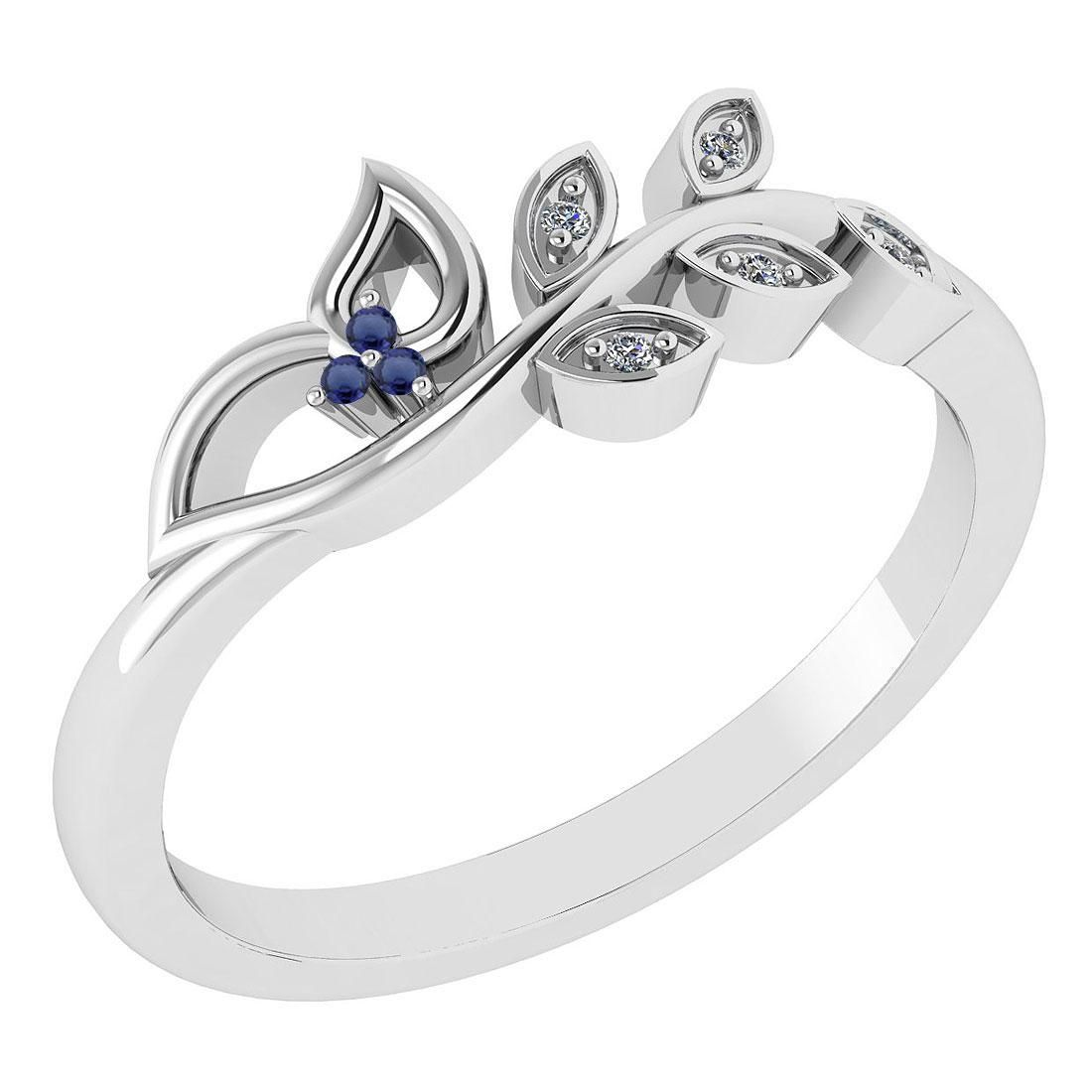 Certified 0.04 Ctw Blue Sapphire And Diamond 14k White
