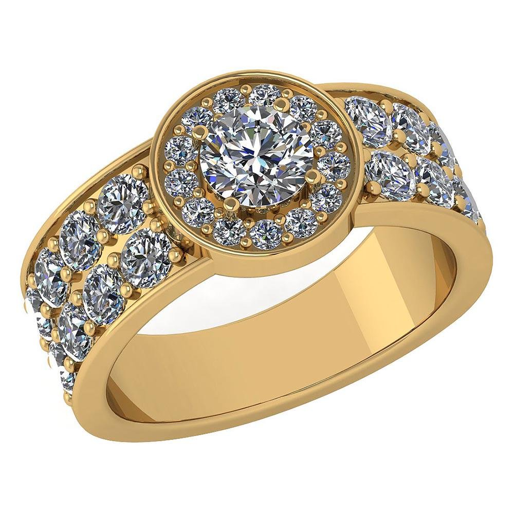 Certified 1.92 Ctw Diamond Halo Ring For Engagement New