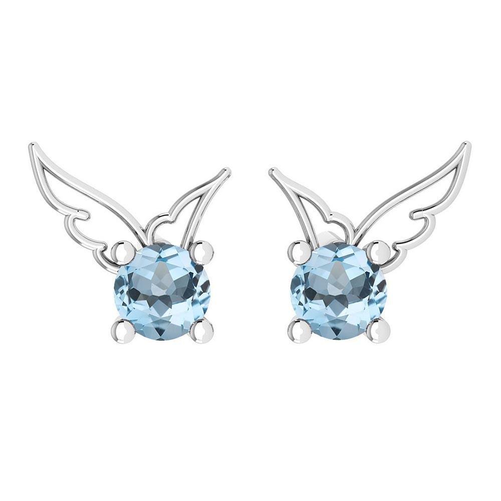 Certified 0.50 Ctw Blue Topaz Stud Earrings 14K Gold Wh