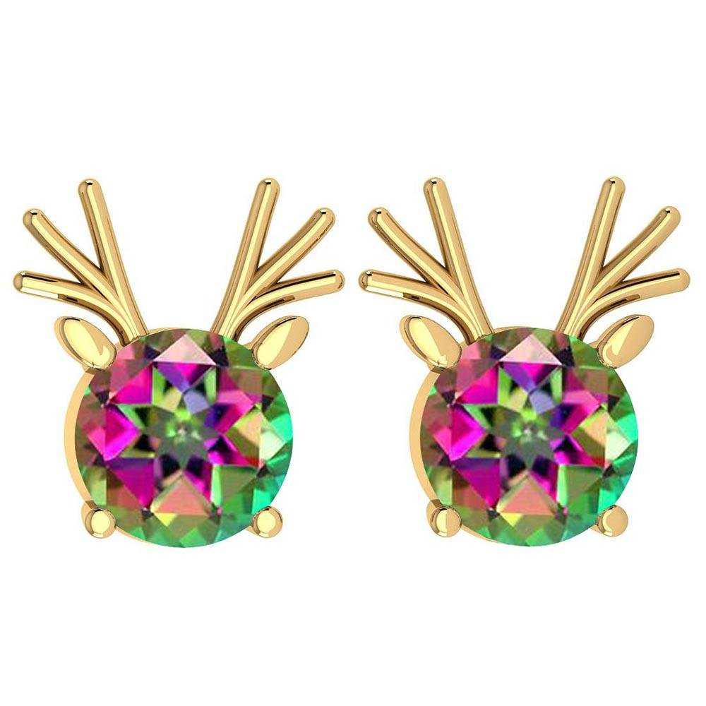 Certified 12.00 Ctw Mystic Topaz Stud Earrings 14K Gold