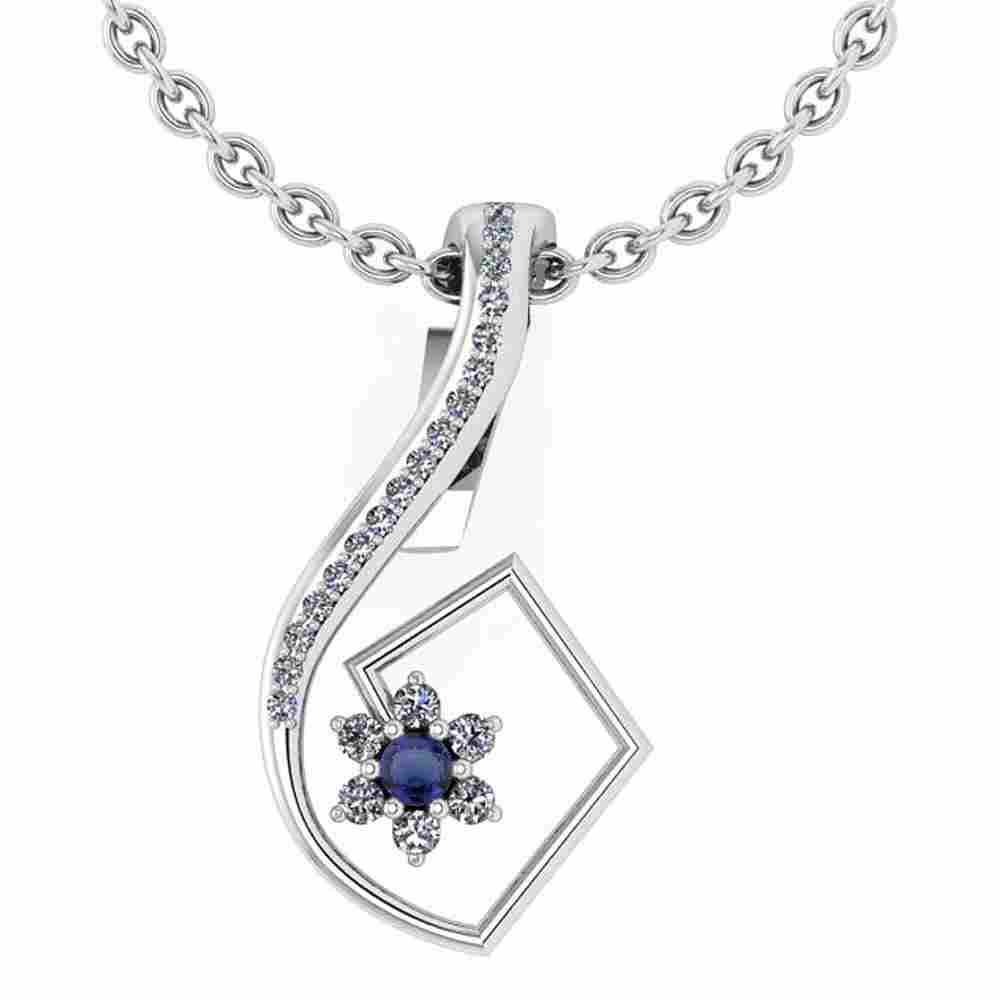 Certified 0.58 Ctw Blue Sapphire And Diamond 14k White