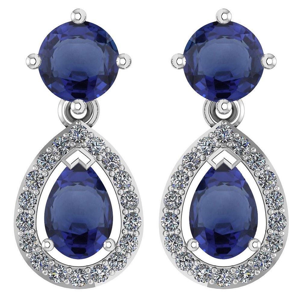 Certified 2.19 CTWBlue Sapphire And Diamond 14k White G