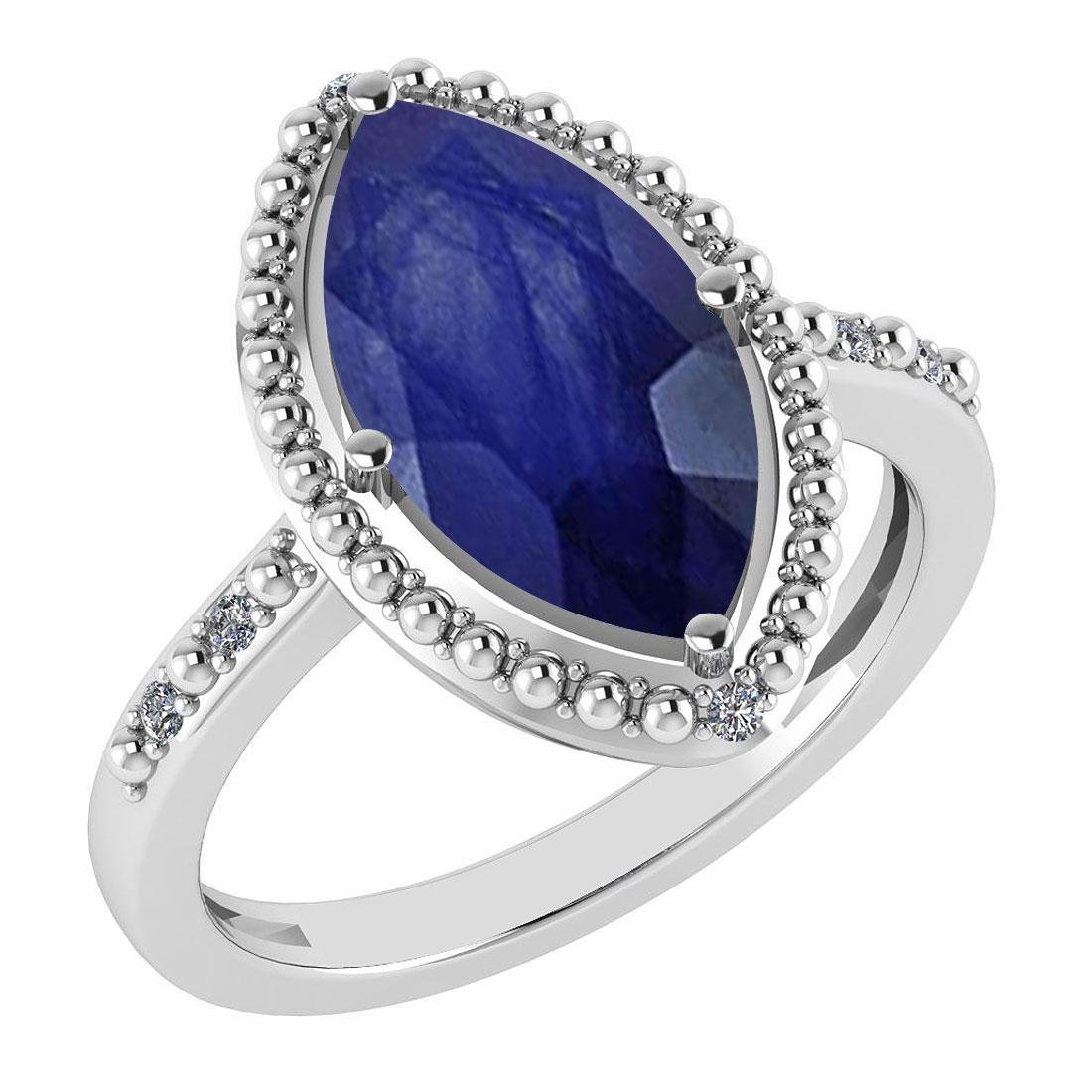 Certified 1.58 Ctw Blue Sapphire And Diamond VS/SI1 Rin