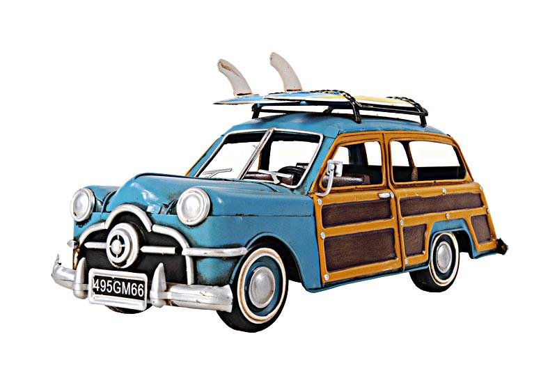 1949 GREEN FORD WAGON CAR W/TWO SURFBOARDS