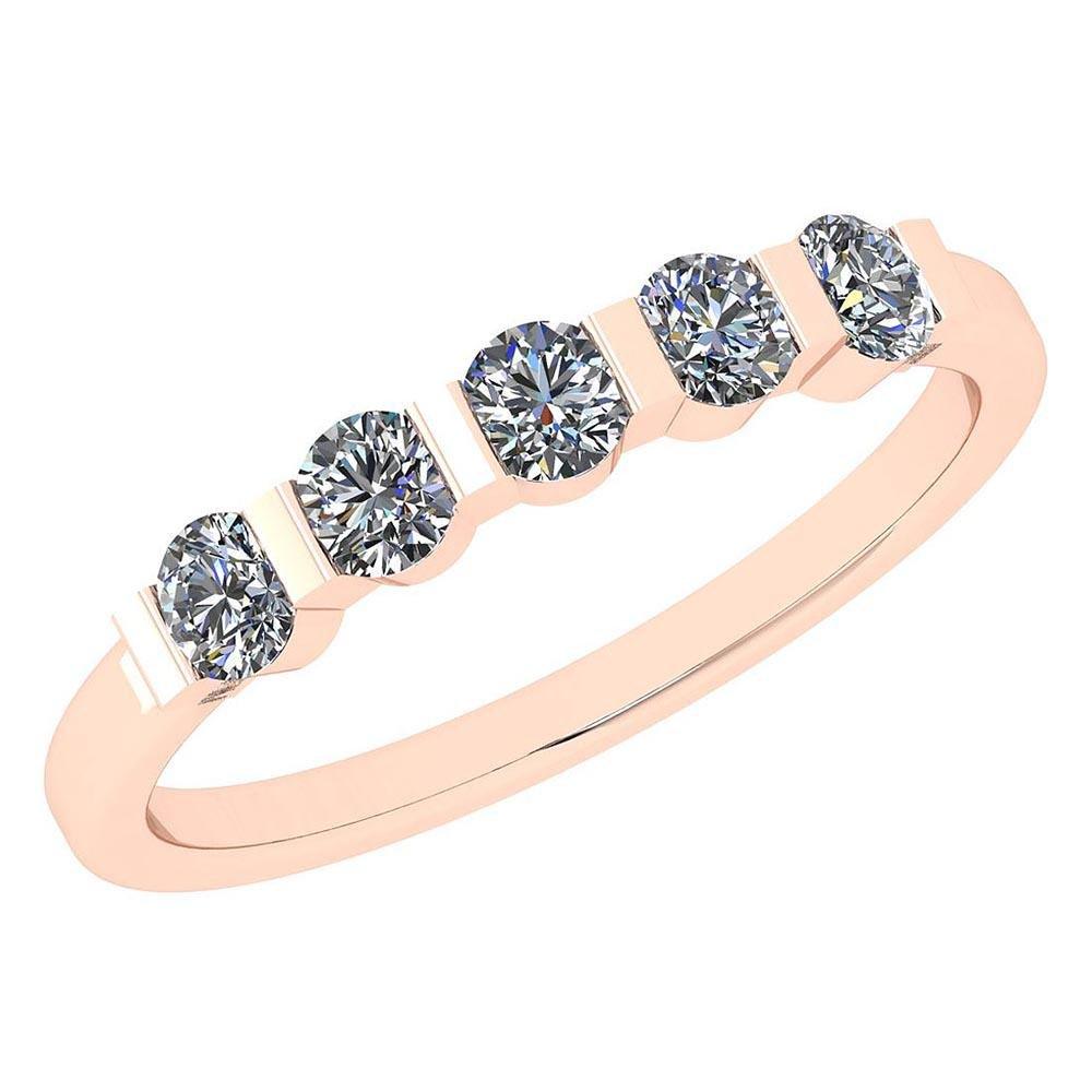 Certified 0.58 Ctw Diamond I1/I2 Engagement Band Ring 1