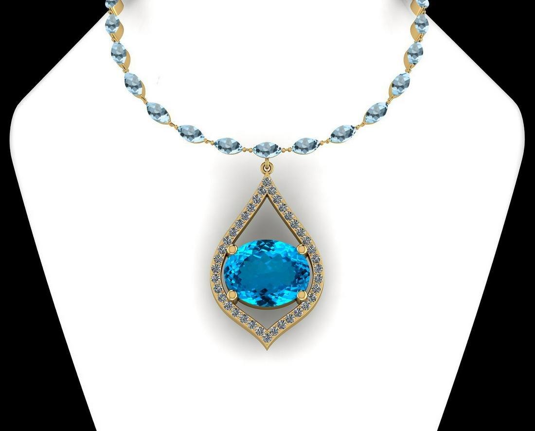 Certified 50.96 Ctw Blue Topaz And Diamond I2/I3 14K Ye