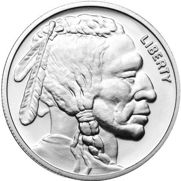 Silver Bullion 1 oz Buffalo Round .999 fine