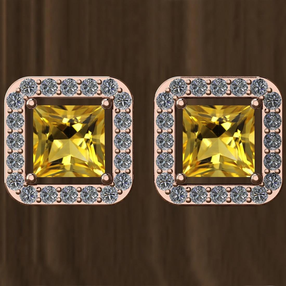 Certified 1.74 Ctw Citrine And Diamond SI1/SI2 14K Rose