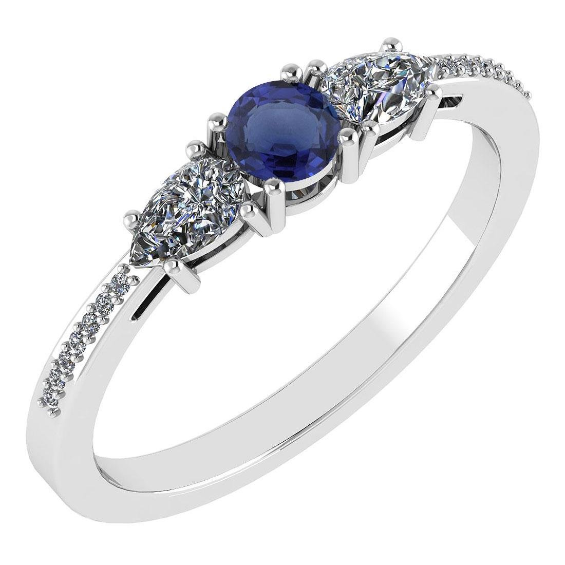 Certified 0.77 Ctw Blue Sapphire And Diamond 14k White
