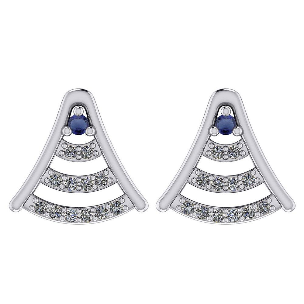 Certified 0.15 Ctw Blue Sapphire And Diamond 14k White
