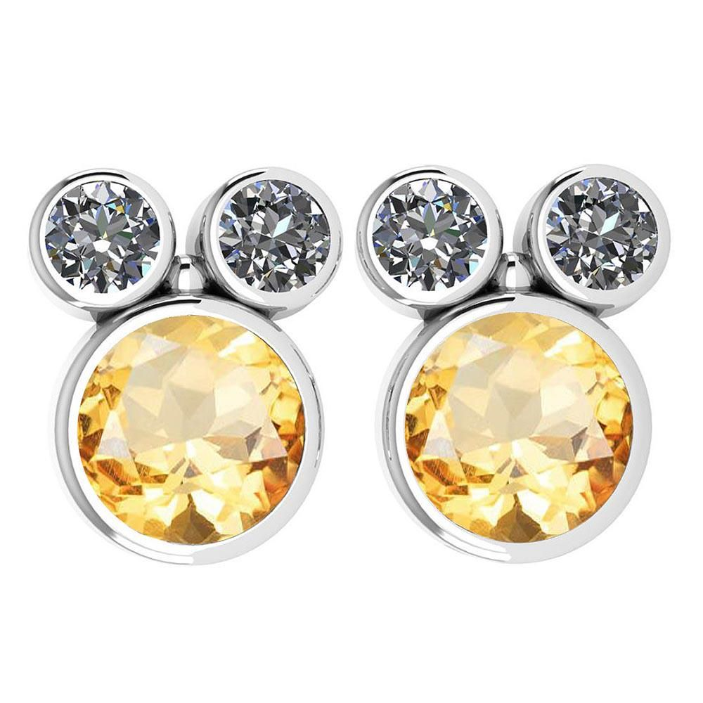 Certified 3.14 Ctw Citrine And Diamond VS/SI1 Earrings