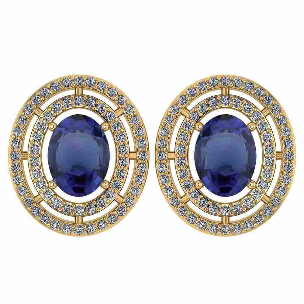 Certified 3.12 Ctw Blue Sapphire And Diamond 18K Yellow