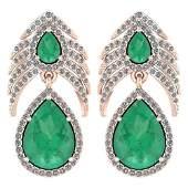 Certified 738 Ctw Emerald And Diamond Pear Shape Hangl
