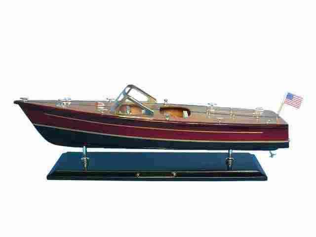 Wooden Chris Craft Dual Cockpit Model Speedboat 20in.