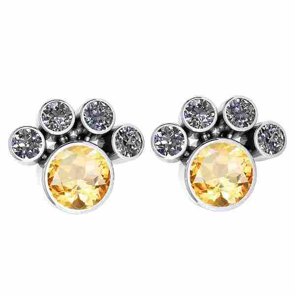 Certified 15.50 Ctw Citrine And Diamond SI2/I1 Earrings