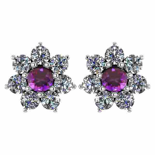 Certified 1.86 Ctw Amethyst And Diamond 14k White Gold