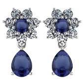 Certified 486 Ctw Blue Sapphire And Diamond Platinum H
