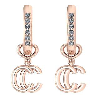 Certified 0.16 Ctw Diamond Alphabet C Earrings For wome