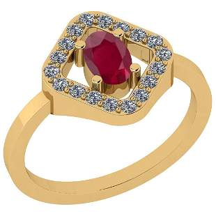 Certified 0.60 Ctw Ruby And Diamond VS/SI1 18k Yellow G