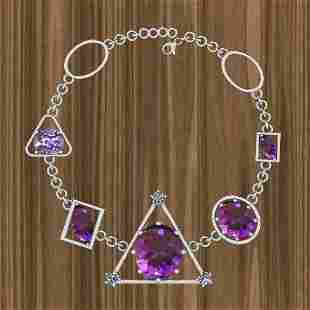 Certified 32.48 Ctw Amethyst And Diamond I2/I3 14K Whit