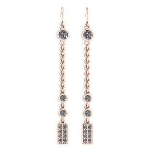 Certified 1.13 Ctw Diamond VS/SI1 Earrings 14K Rose Gol
