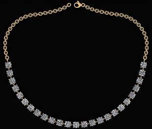 Certified 22.50 Ctw Diamond Necklace For Ladies 18K Yel
